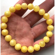 YELLOW Color Genuine Baltic Amber round bracelet 9mm-RAU726