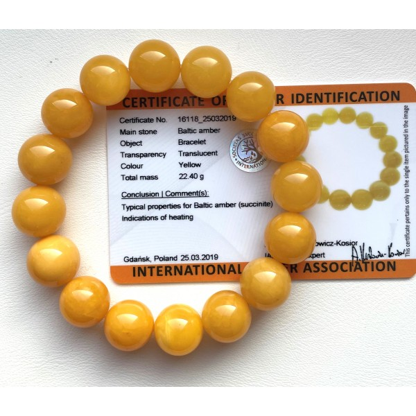ANTIQUE Color Baltic Amber round bracelet 14mm(Certificate included ) -