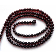 BALTIC AMBER NECKLACE Cherry long Round Beads 5mm
