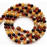 BALTIC AMBER NECKLACE Colorful long Round Beads  6mm