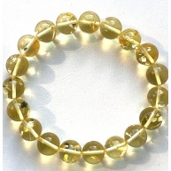 Lemon Amber Round Beads Stretch Bracelet 10 mm