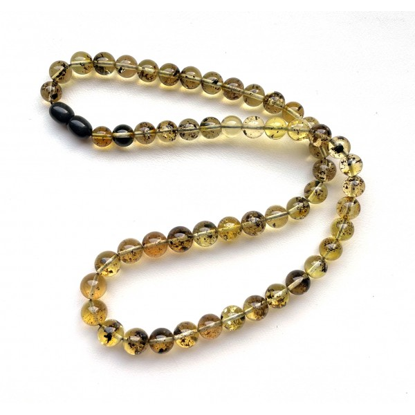 Natural Plant Amber Necklace Round Beads -