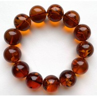 Round beads Baltic amber bracelet 16-17 mm.