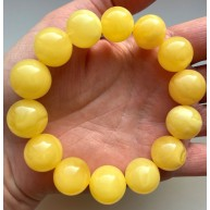 Yellow Color Genuine Amber Round Beads Bracelet 16 mm(Certificate included)