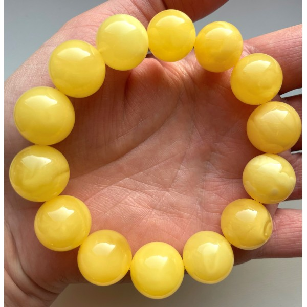 Yellow Color Genuine Amber Round Beads Bracelet 16 mm(Certificate included) -
