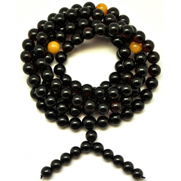 Baltic amber Tibetan Buddhist Mala Prayer 108 beads 8,8 mm-TBA195