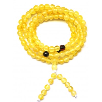 Elastic Tibetan Buddhist Mala Prayer 108 Baltic amber beads 4,4 mm