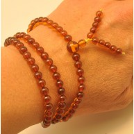 Elastic Tibetan Buddhist Mala Prayer 108 Baltic amber beads 5,4 mm