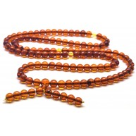 Elastic Tibetan Buddhist Mala Prayer 108 Baltic amber beads 7,8 mm