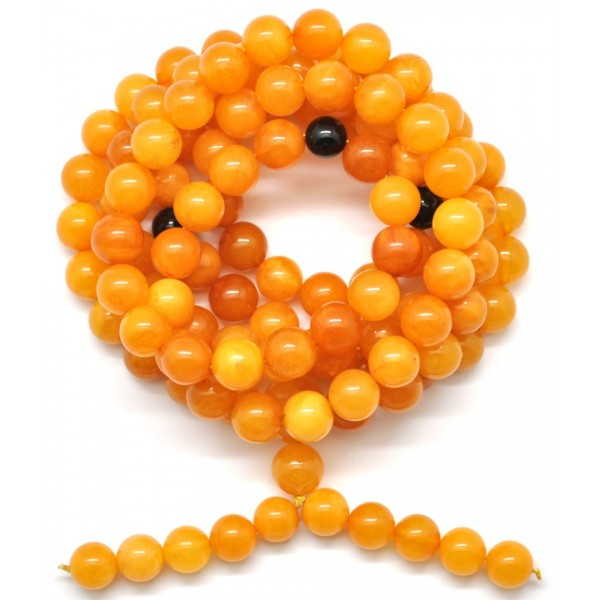 Natural Tibetan Buddhist Mala Prayer 108 Baltic amber beads 9,9 mm-TBA272