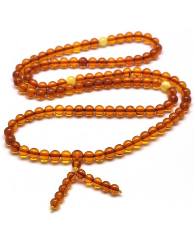 Cognac Buddhist Mala Baltic Amber 108 Prayer Beads bracelet  6,2 mm