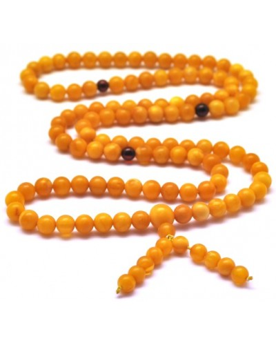 Unpolished Buddhist Mala antique Baltic Amber 108 Prayer Beads bracelet 5,8 mm