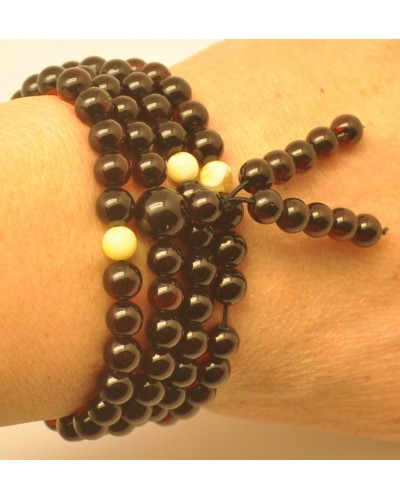 Elastic Tibetan Buddhist Mala Prayer 108 Baltic amber beads 6,4 mm
