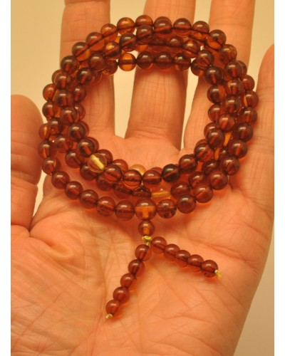 Elastic Tibetan Buddhist Mala Prayer 108 Baltic amber beads 7 mm