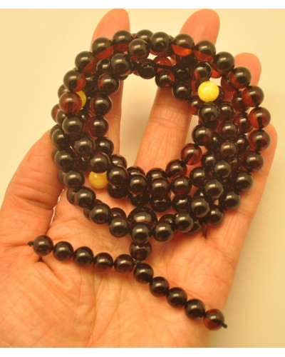 Elastic Baltic amber Tibetan Buddhist Mala Prayer 108 beads 8,8 mm