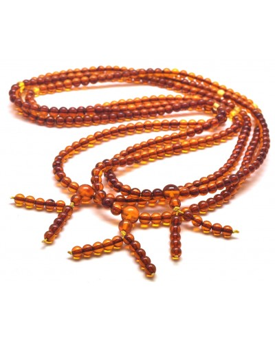 3 Elastic Tibetan Buddhist Mala Prayer 108 Baltic amber beads 5,2 mm