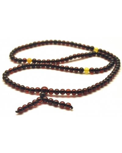 Elastic Tibetan Buddhist Mala Prayer 108 Baltic amber beads 4,5 mm