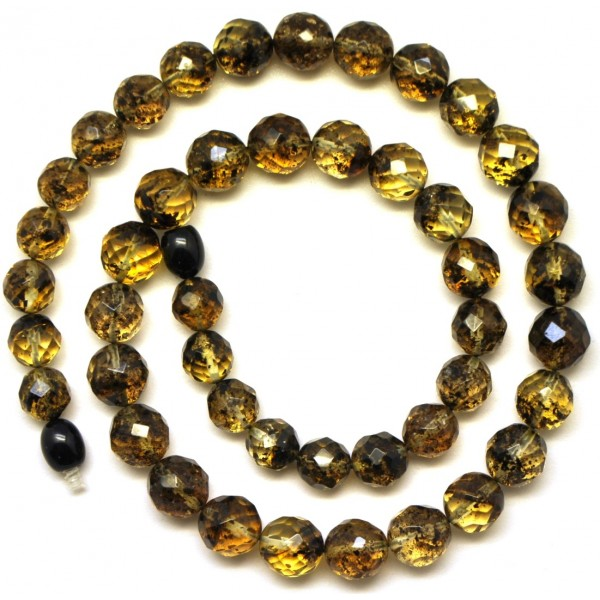 Faceted round beads Baltic amber necklace -RAU327