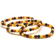 Lot of 3 multicolor round beads amber bracelets  4 - 5 mm.