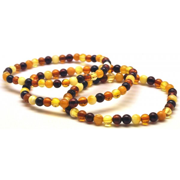 Lot of 3 multicolor round beads amber bracelets 4 - 5 mm.-RAU619