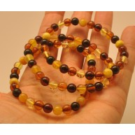 Lot of 3 multicolor round beads amber bracelets  6 - 7 mm.