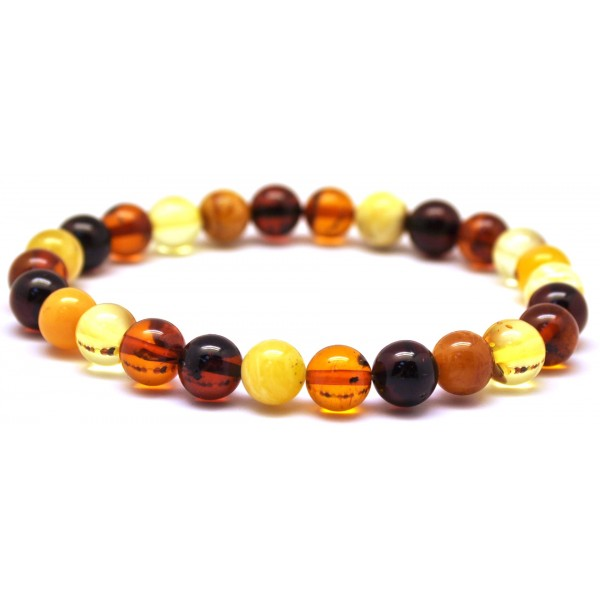 Multicolor round beads Baltic amber bracelet 7 - 8 mm.-RAU395