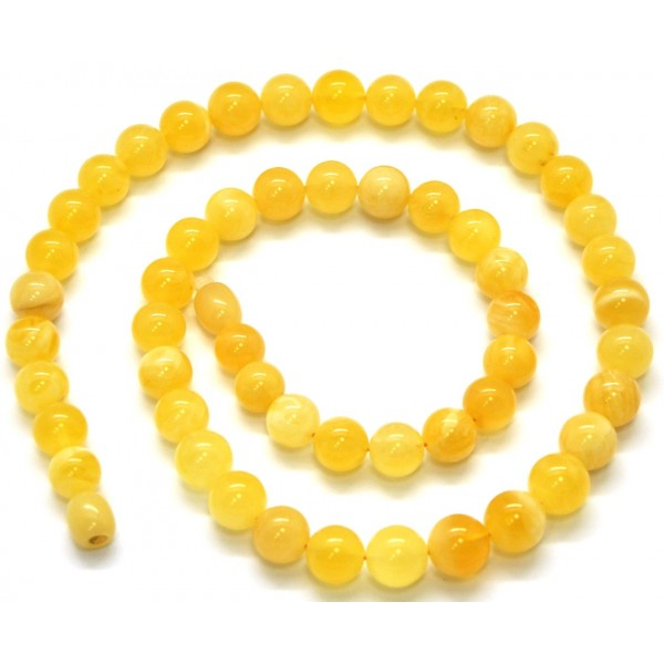 Natural amber round beads necklace -RAU347