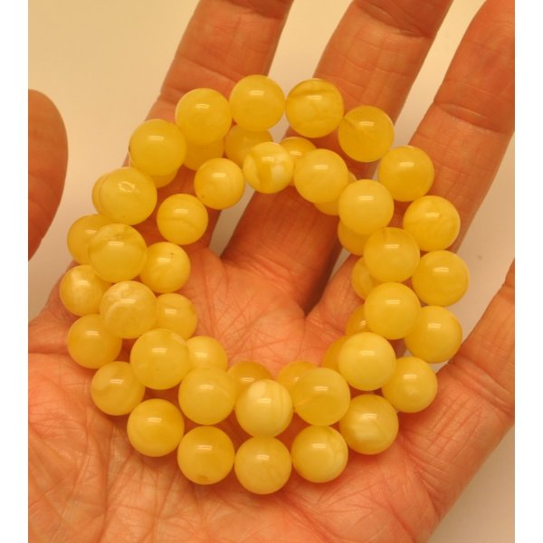 Natural amber round beads necklace -RAU603