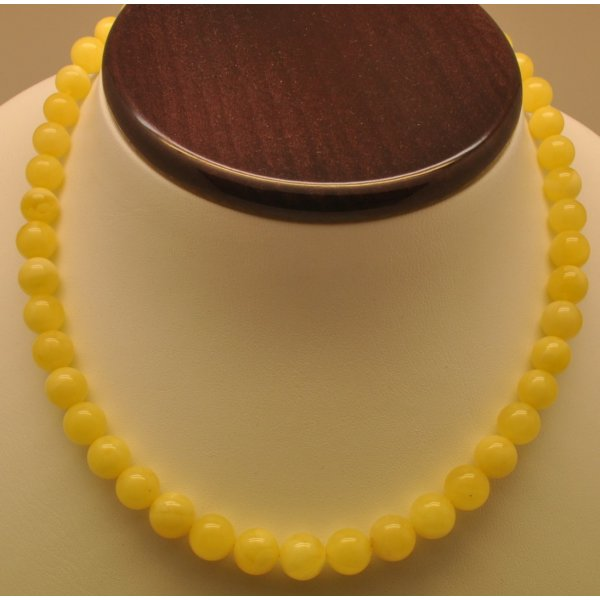 Natural amber round beads necklace -RAU675