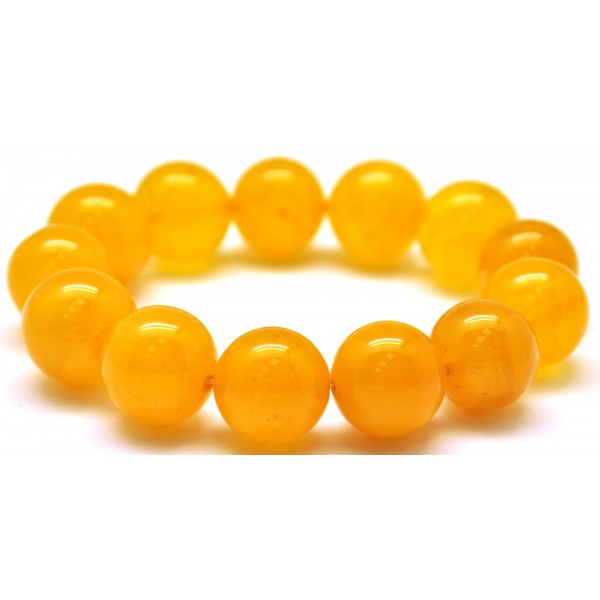 Natural round beads antique color Baltic amber bracelet 15 - 16 mm.-RAU417