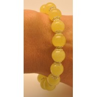 Natural yellow round beads Baltic amber bracelet  10 - 11 mm.