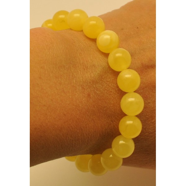 Natural yellow round beads Baltic amber bracelet 10 mm.-RAU604