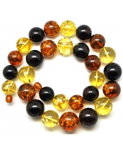 Round beads multicolor  Baltic amber necklace 78 g .