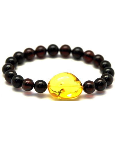Cherry round beads Baltic amber bracelet  9,4 - 10 mm.