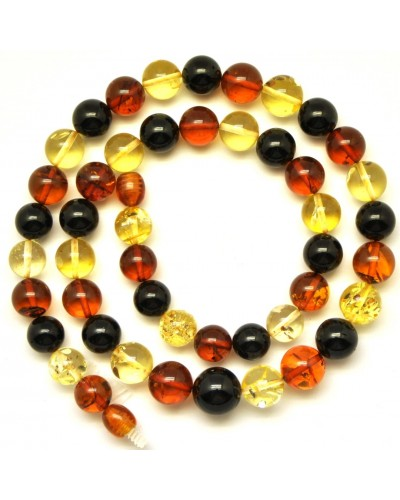 Round beads multicolor  Baltic amber necklace
