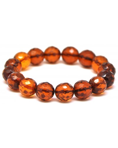 Cognac faceted round beads Baltic amber bracelet 12 - 13 mm.