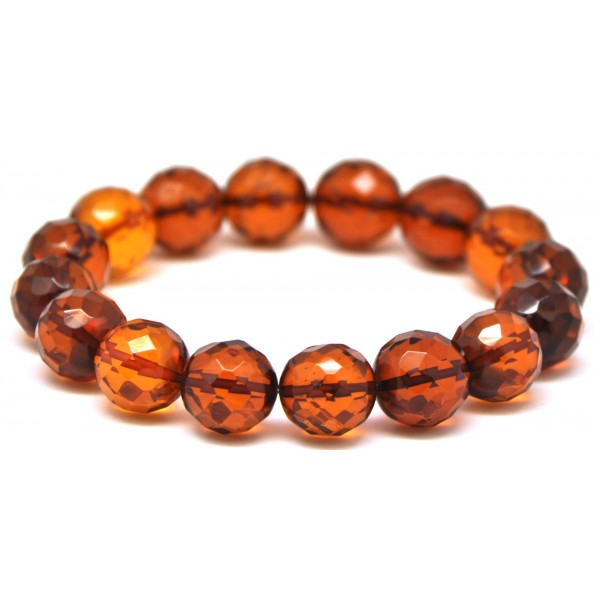 Amber bracelets | Cognac faceted round beads Baltic amber bracelet 11,8 - 13 mm.