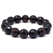 Cherry faceted round beads Baltic amber bracelet 13 - 14 mm.