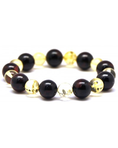 Round beads Baltic amber bracelet 10 - 13 mm.