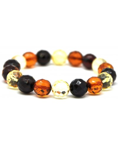 Multicolor faceted round beads Baltic amber bracelet 10 - 11 mm.
