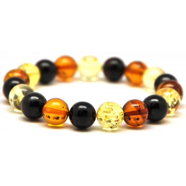 Amber bracelets | Multicolor round beads Baltic amber bracelet 10 mm.