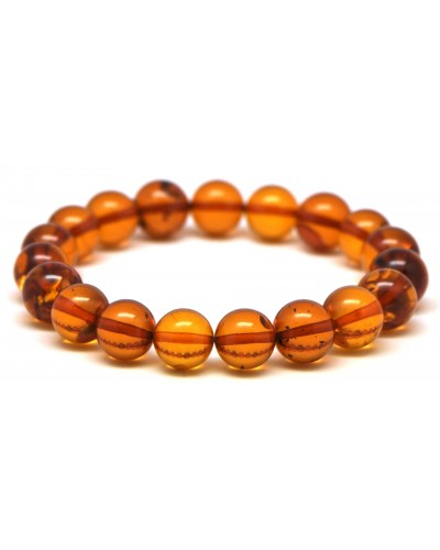 Cognac round beads Baltic amber bracelet 10 mm.