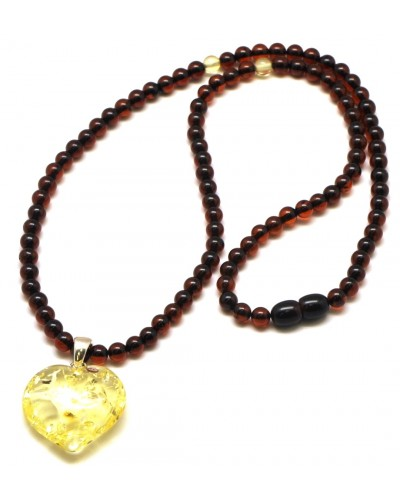 Cherry Baltic amber necklace with heart pendant