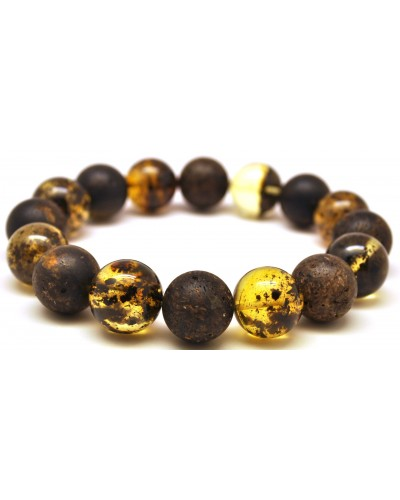 Mixed polished and unpolished round beads amber bracelet