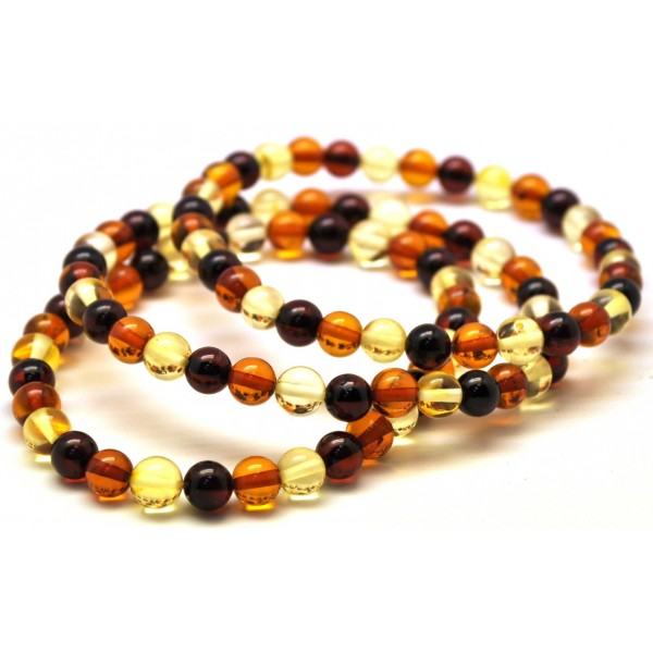 Round amber beads | Lot of 3 multicolor round beads Baltic amber bracelets 6 mm.