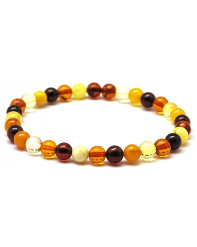 Multicolor round beads Baltic amber bracelet 6 mm.