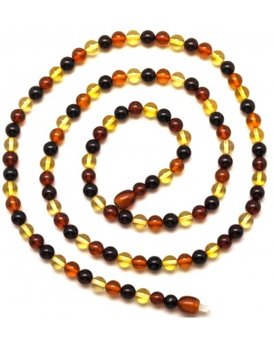 Long round beads  Baltic amber necklace