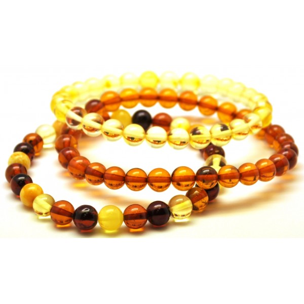 Round amber beads | Lot of 3 round beads Baltic amber bracelets 7 mm.