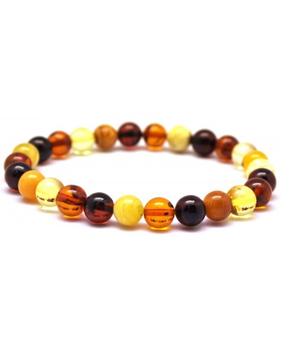 Multicolor round beads Baltic amber bracelet 7 - 8 mm.