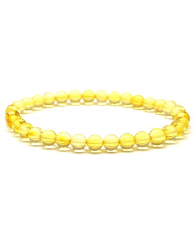 Round beads lemon Baltic amber bracelet 6 mm.